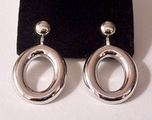 Oval Domed Hoops Clip On Earrings Silver Tone Vintage Long Lightweight Polished Smooth Open Dangle Round Domed Buttons
