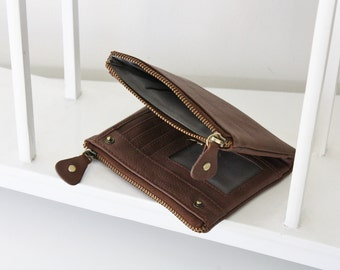 Classic leather cash, card and coin wallet