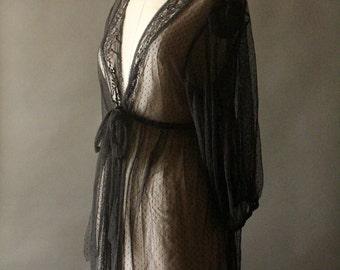 Vintage 90's Black Sheer Dot Mesh and Lace Babydoll Dress by Oscar De La Renta Pink Label
