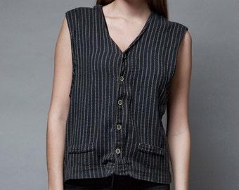 vintage 90s pinstripe vest top black 100% cotton soft L LARGE