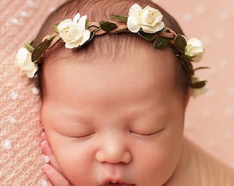 Ivory Flower Crown, Baby Photo Prop, Baby Girl Headband, Halo Headband, Newborn Photo Prop