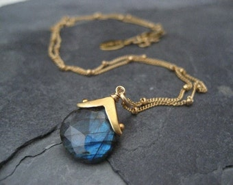 Labradorite necklace, blue flash necklace, multi color,  genuine gemstone, heart shape briolette, dotted cap, handmade