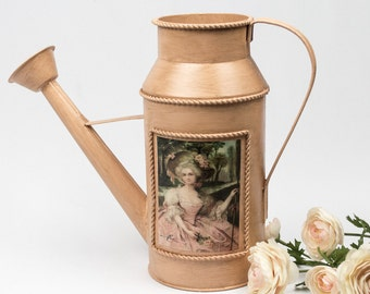 50% Off  Watering Can Hand Painted and Aged in Peach Decoupaged Vintage Lady and French Postcard