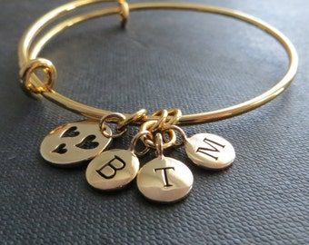 Mothers gift, initial bangle bracelet, personalized mom bracelet with heart cutout, initial charms, Christmas gift