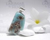 Larimarandsilver pendant, Easter Island Head - pattern Larimar stone, aqua teal, head pendant aquamarine, jade head handmade Larimar pendant