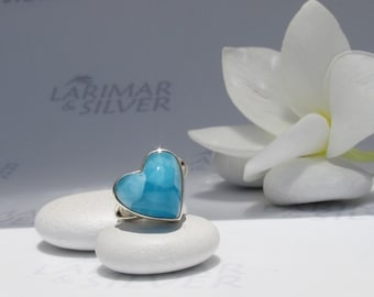 Larimarandsilver ring size 6, Shades of Love - royal blue Larimar heart, AAA Larimar, turtleback, deep blue heart, handcrafted larimar ring