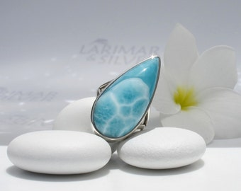 Larimarandsilver ring size 7.5, Blue Dollar Sand - turquoise Larimar pear, turtleback, sky blue ring, blue turtle, handcrafted Larimar ring