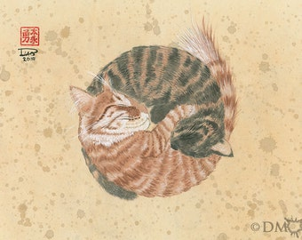 Harmony 12x18 (Print) - Ying Yang cats