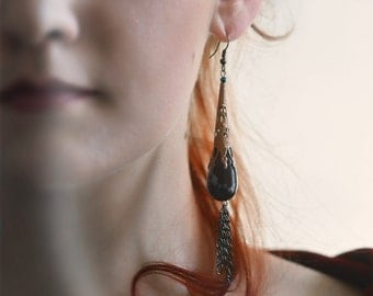 Jasper dangle LONG Tribal tassel Earrings - Boho Statement Filigree Bronze chain Earrings