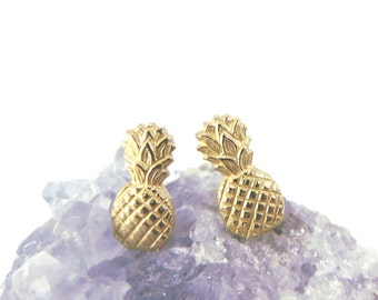 Pineapple Studs, Pineapple Earrings, Pineapple posts, gold stud earrings, 925 sterling silver posts, Gold pineapples, tropical studs