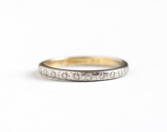 Antique Platinum Shell 18k Yellow Gold Wedding Band Ring - Size 9 Art Deco 1920s Eternity Flowers Stacking Orange Blossom Fine Jewelry