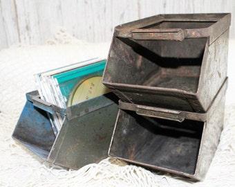 Green Metal Stacking Bins, Vintage