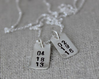 stamped dates necklace   custom stamped dates necklace   mommy necklace   new mom gift   push present   2 kids birth dates   two kids
