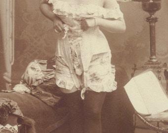 Lingerie Model Boudoir Image. German Postcard, circa 1910