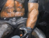 Leather Clothing and a Cigar, oil on canvas panel 11x14 inches, by Kenney Mencher (gay art)