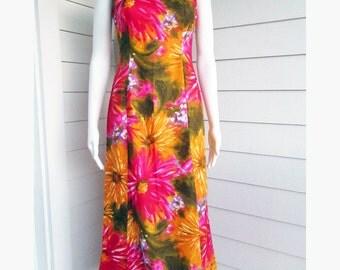 1960s bright floral dress  Hawaiian Togs 60s maxi dress Small