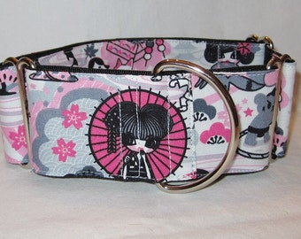 LAST ONE LARGE Blushing Anime Martingale Dog Collar - 2 Inch - Japanese cartoon pink white umbrella tea cat butterfly