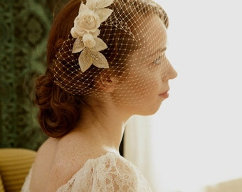 Birdcage veil with floral fascinator - 1930s vintage wedding veil with ivory roses -Wedding headpiece with french net veil -  champagne veil