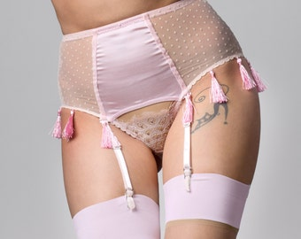 FIONA Icy Pink playful Tassel silk satin and spot mesh suspender high brief, pin up pink lingerie