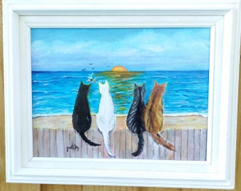 Cats Beach Sunset Original Acrylic Framed Painting