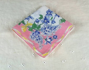 Vintage Hanky, Handkerchief, Blue Flowers, Yellow Ribbon on White Background with Pink Border, Square, Machine Hemmed