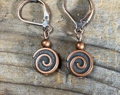 Antique copper spiral swirl earrings - lever back nickel free - leverback - short simple minimalist everyday jewelry brown metal women