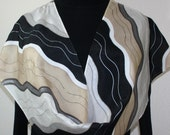 Hand Painted Silk Scarf. Beige, Black & White Handmade Silk Scarf, ICY RIVERS. Size 11x60 in. Silk Scarves Colorado. Hand Dyed Scarf.