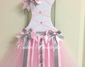 Pink White Grey Tutu Dress Hair Bow Holder With Loops for Headbands Perfect Gift For Birthday Baby Shower It's a Girl