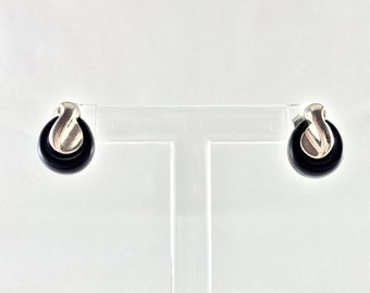 Black and silver 2-in-1 earrings