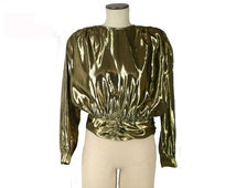 Metallic Gold Lame Blouse Disco Secretary, Vintage 1980s, Size Medium