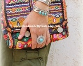 Tibetan silver ROUND circle Statement adjustable ring Howlite Turquoise cabochon center Bohemian cocktail ring Gypsy ring by Inali