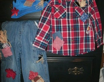 boys size 3T scarecrow costume Halloween plaid shirt,jeans,rope belt . hat