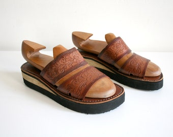 Wood Tooled Leather Sandals