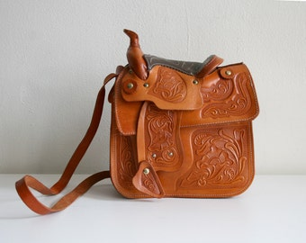 Tooled Leather Saddle Purse