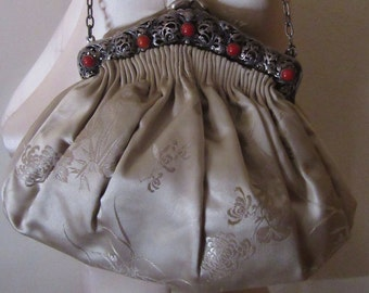 Silk Satin 800 Silver Framed Purse