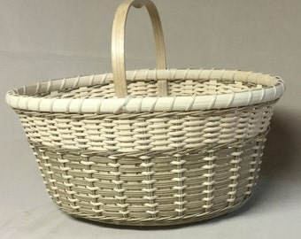 Hand Woven Basket, Oval with Wood Base and Handle, Light Brown and Natural