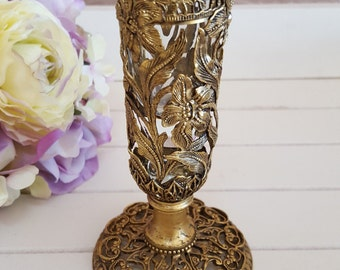 Filigree Vase with Crystal Insert - Hollywood Glam - Oak Hill Vintage