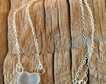 frosted white sea glass heart sterling silver necklace