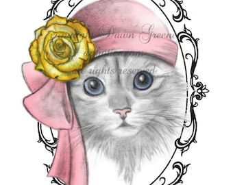 kitten in a hat print full color original art card 4.25 x 5.5 inches