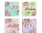 Love Dream Coasters Inspirational Word Ceramic Tile Drink Coasters Shabby Chic Sublimated Live Laugh Wall Decor Tiles