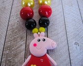 Peppa Pig chunky necklace, Peppa Pig pendant, little girl jewelry, birthday gift, Peppa Pig party, costume, present, bubblegum necklac