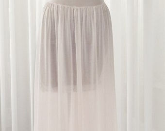 Nightgown Crystal Pleating Blush Pink Long Nightgown Circa 1940's by Vanity Fair