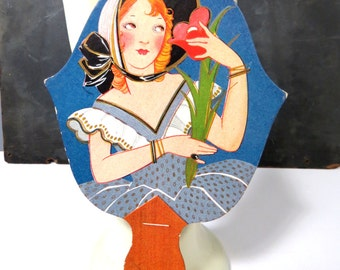 Vintage Fan Tally Score Card, Woman, Blue Gray Dress, Flowers, Bonnet, Unused, Cottage Chic Die Cut Card