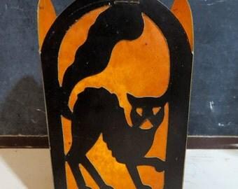 Vintage Halloween Die Cut Collapsible Lantern, Beistel BEE LINE Halloween Decor, Witch, Owl, Cat, Jack O Lantern