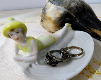 Vintage Art Deco Flapper Bathing Beauty on Porcelain Shell Pin, Trinket, Ring Dish, Germany, Yellow Bathing Suit