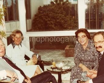 Vintage Photo, Couples in Florida Room, Large Windows, 1970's fashion, Color Photo, Found Photo, Snapshot, Vernacular Photo     Turin718.jpg