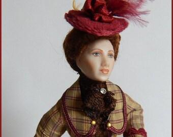 Bertille, a porcelain doll for your dollhouse