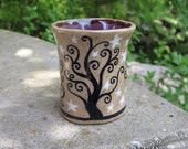 Swirly Trees Cup - stoneware ceramic shot glass espresso cup