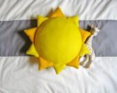 Sun Shaped Yellow Pillow / Stuffed Plush Felt Sun / Nursery Decor / Kids Bedding / Sunshine Pillow / You Are My Sunshine / Baby Shower Gift