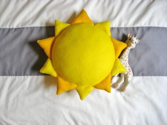 Sun Shaped Yellow Pillow Stuffed Plush Felt By